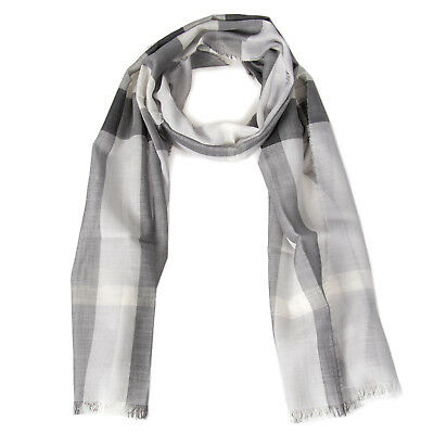 Lightweight Check Wool and Silk Scarf | Pale Gray