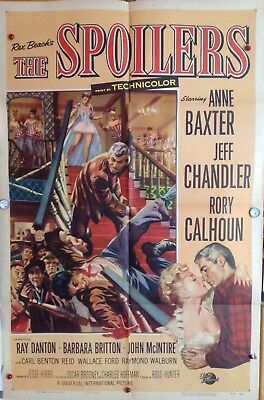 "Original Movie Poster Folded 1956""the Spoilers""27X41 Anne Baxter - Jeff Chandler"