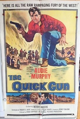 "Original Movie Poster Folded 1964 ""the Quick Gun"" 27X41 Audie Murphy"