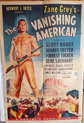 "Original Movie Poster Folded 1955""the Vanishing American"" Scott Brady - A.totter"