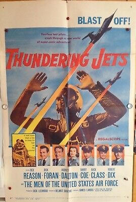 "Original Movie Poster Folded 1958 ""thundering Jets"" 27X41 Rex Reason - D. Foran"