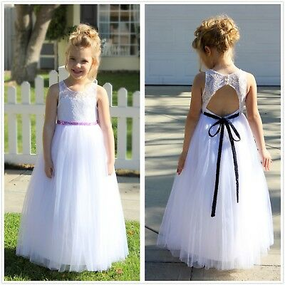 Lace Tulle White A-Line Flower Girl Dresses Communion Dress Toddler Girl Dress