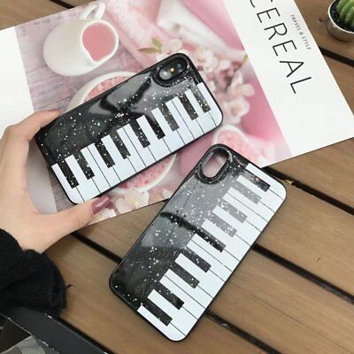 For iPhone 8 Plus X 6S New Bling Glitter Black White Piano Music Soft Case Cover