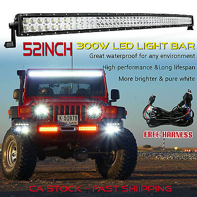 52 inch LED Light Bar Curved Off road Truck Boat Driving Boat Ford Jeep SUV 50