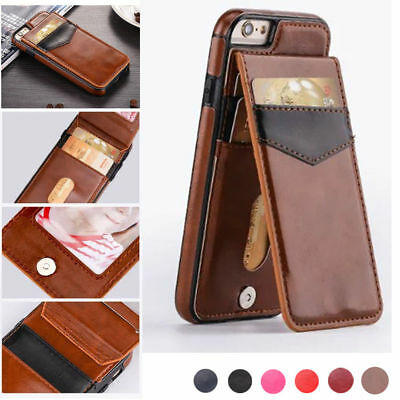 Slim Leather Wallet Credit Card Holder Stand Back Cover Case for iPhone 8 Plus X
