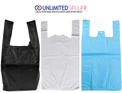 "WHITE BLUE BLACK PLASTIC CARRIER BAGS 11x17x21"" 16MU SHOP MARKET STALL LARGE XL"