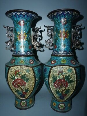 Chinese Exquisite Handmade Floral pattern Copper Cloisonne vase A pair
