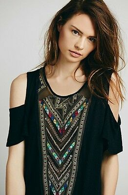 Free People Love Spell Cut Out Mesh Keyhole Tee Shirt Top Embroidered Tribal SM