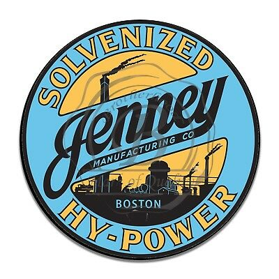 Jenney Manufacturing Co. Solvenized Hy-Power Reproduction Circle Aluminum Sign