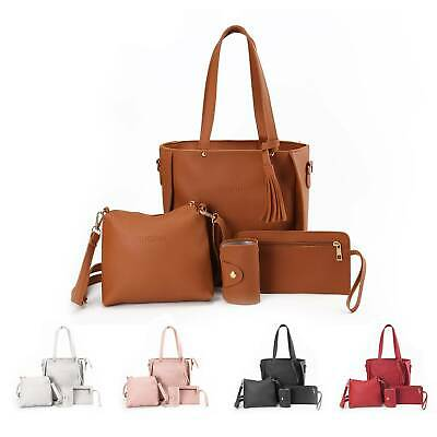 4Pcs/set Women Leather Handbag Shoulder Bag Tote Purse Messenger Satchel Clutch