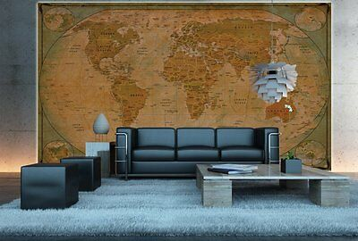 Huge Classic World Map Wallpaper Retro Vintage Large Giant Wall Print Big Poster