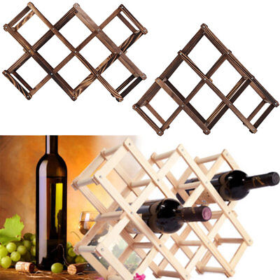 New Wooden Red Wine Rack 10 Bottle Holder Mount Kitchen Bar Display Shelf 5N