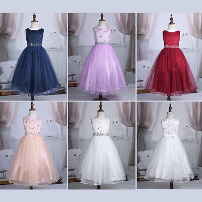 Child Lace Sequins Flower Girls Princess Dress Gown Wedding Pageant Party Formal