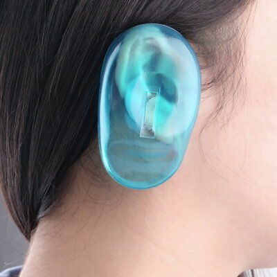 2PCS Clear Silicone Ear Cover Hair Dye Shield Protect Salon Color Blue New 5N