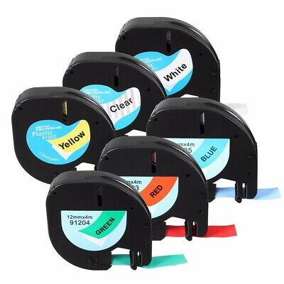 Waterproof 12mm x 4m Plastic Label Cartridge Tape For Dymo LetraTag 91201 91200