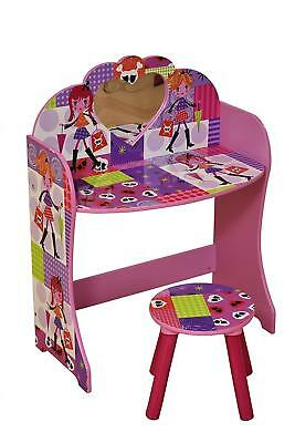 Liberty House Toys Fashion Girl Dressing Table and Stool Set, Wood, Multi-Colour