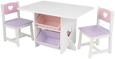 Childrens Kids Pastel Heart Craft Homework Table & Chair Set