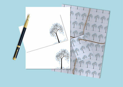 Winter Tree Letter Writing Paper and Envelopes Stationery Set, Penpal Gift Set