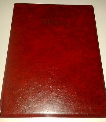 Qty 20 A4 MENU HOLDER/COVER/FOLDER IN RED LEATHER LOOK PVC