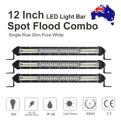 3X SLIM LED Light Bar 12INCH Spot Flood Combo Work Driving Offroad Lamp VS 10''