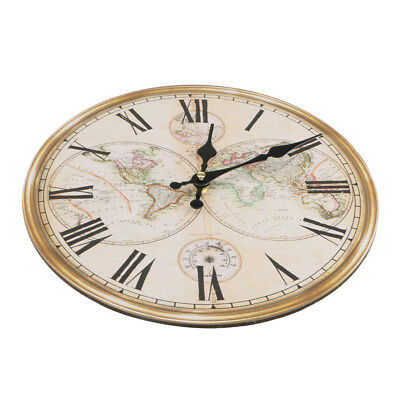 Vintage Rustic Wooden Wall Clock Antique Shabby Chic Home Kitchen Decor #3