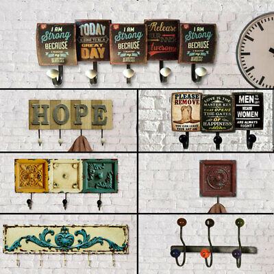 Retro wall wardrobes rustic style wood metal hallway clothes hooks hangers