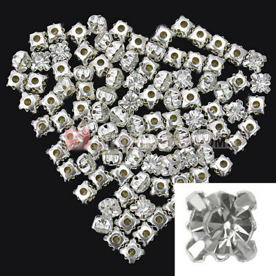 100 Perline Bead Distanziatori Strass Placcato Argento 6x6x5mm DIY Fai da Te