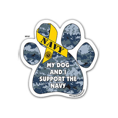 My Dog And I Support The Navy Dog Military Paw Car Magnet