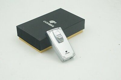 COHIBA NEW SILVER Grid METAL  2 TORCH JET FLAME CIGAR CIGARETTE LIGHTER W/ PUNCH