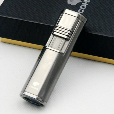COHIBA  Black WIND-PROOF Portable 2 TORCH JET FLAME CIGAR LIGHTER W/ PUNCH
