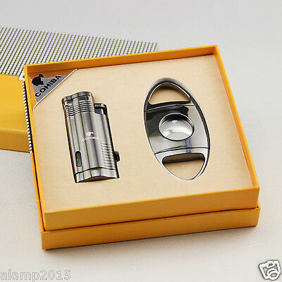 COHIBA Black Metal 3 Torch Jet Flame Cigar Lighter With Cigar Cutter Cigar Set