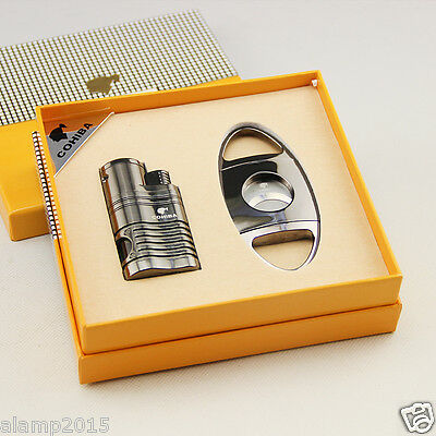 COHIBA Black Metal 4 Torch Jet Flame Cigar Lighter With Cigar Cutter Cigar Set