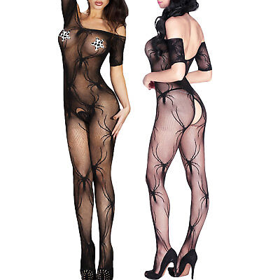 Tutina donna intimo bodystocking catsuit crotchless pizzo sexy lingerie DL-2220