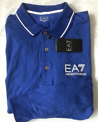 "69d8e2071 EA7 Emporio Armani Long Sleeve Polo Size XL Blue 42/44"" Chest New BNWT"