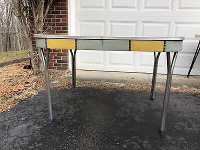 Mid Century Art Deco FORMICA Dining Kitchen Table Chrome Legs 2 Leaves