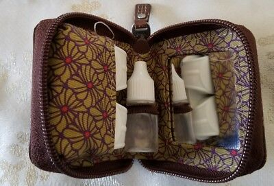 Fossil Brown Leather Contacts Lens Case Mirror Solutions Bottle New travel bag