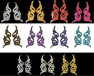 1 Pair Sequined Applique Embroidery Iron On Patch Dress Costume Craft BU1268