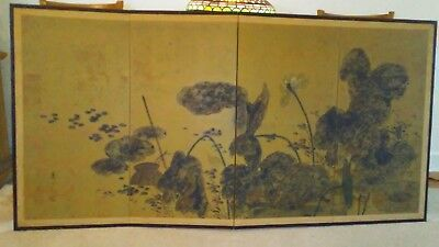 Antique Large Chinese Painted Screen 73x38 Circa 1900s Shipping is available