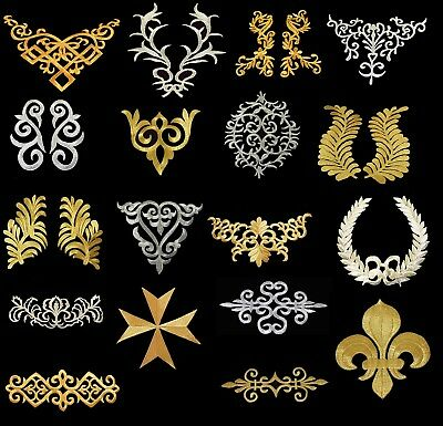 42 Designs Gold & Silver Embroidery Applique Iron On Patch Dress Costume BU1269