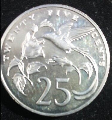 Proof Jamaica 1973 25 Cents~Streamer Tailed Hummingbird~28,000 Minted