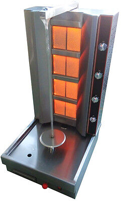 New 4 Zone Propane Gas Shawarma Gyro Vertical Broiler Tacos Al Pastor Grill