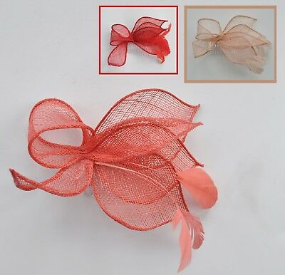 Nude/salmon pink, coral or red sinamay & feather wedding fascinator hair comb