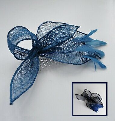 f7a4182e288fd Golden bronze/Kingfisher teal blue sinamay & feather fascinator hair comb.  Races