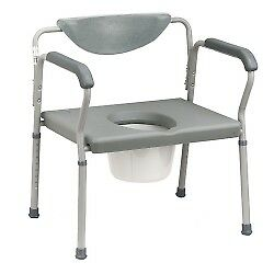 """Bariatric Commode Chair Fixed Arm Steel Frame Padded Back 15 to 22"""""""