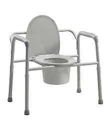 """Bariatric Commode Chair Fixed Arm Steel Frame Seat Lid Back 17 to 23"""""""