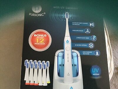 Pursonic S750 Sonic Toothbrush W UV Sanitizing Function & 12 Brush Heads, White