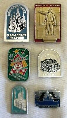 6 Vintage Russian/USSR Pin Badges