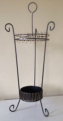 Vintage Retro Umbrella Stand/Mid Century Modern, Atomic, Brass Wire Trim, W/Pan