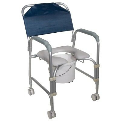 Drive Medical Lightweight Portable Shower Commode Chair Casters Handicap Elderly