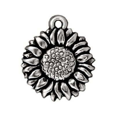 TierraCast Sunflower Charm, Antique Silver Plated Lead Free Pewter (T138)